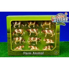 571968 Pack of 12 Ayrshire Cows/Cattle 1:32 scale by Kids Globe