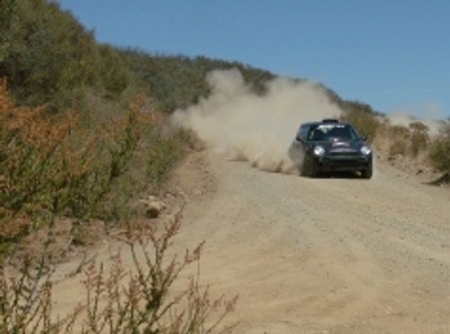 Rallying on a closed course stage road.