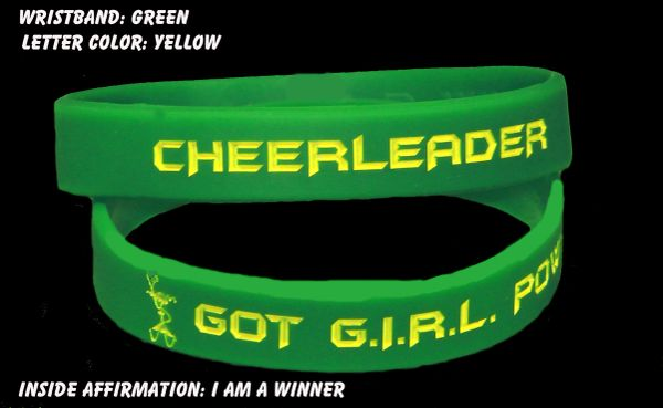 Cheerleader Wristband Green with Yellow Lettering