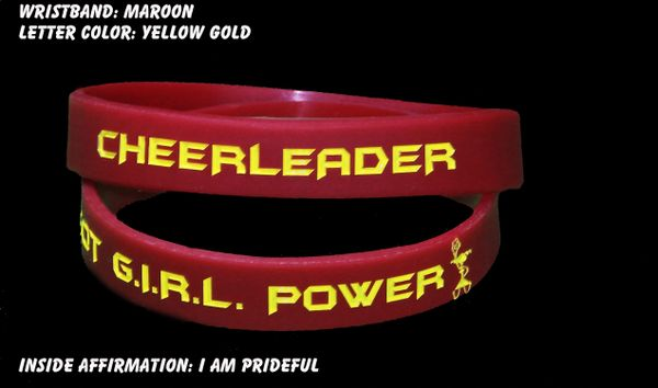 Cheerleader Wristband Maroon with Yellow Lettering