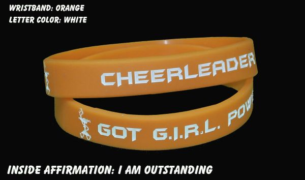 Cheerleader Wristband Orange with White Lettering
