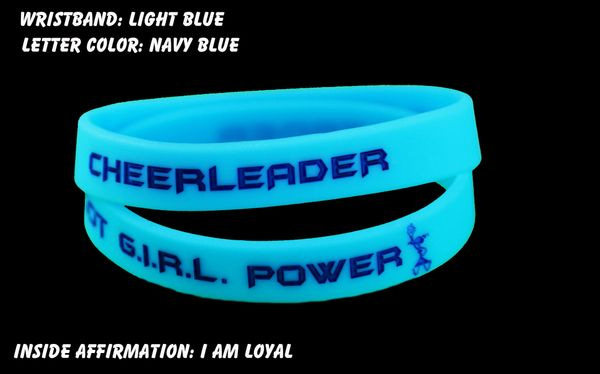 Cheerleader Wristband Light Blue with Dark Blue Lettering