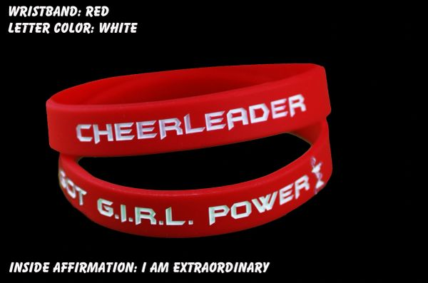 Cheerleader Wristband Red with White Lettering