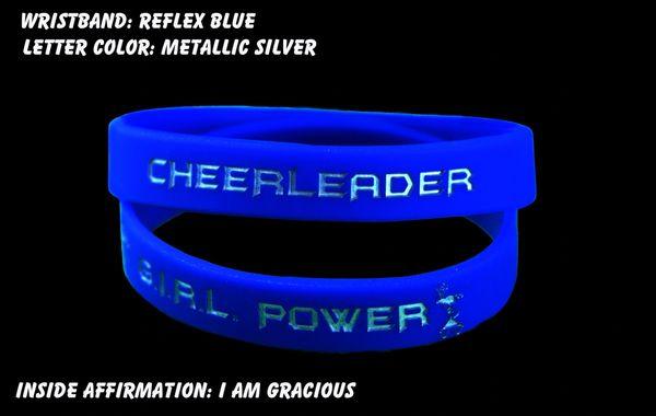 Cheerleader Wristband Dark Blue with Metallic Silver Lettering