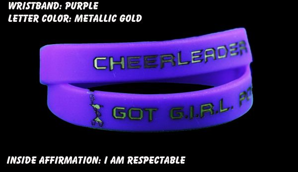 Cheerleader Wristband Purple with Metallic Gold Lettering