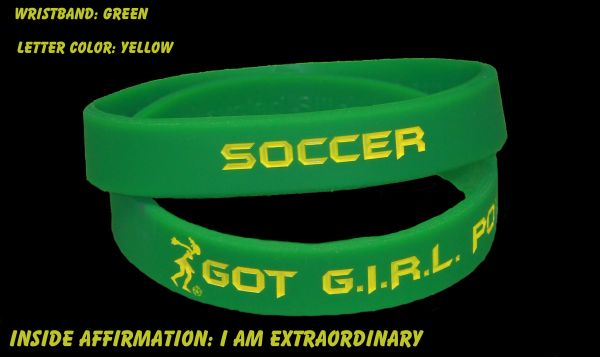 Soccer Wristband Green with Yellow Lettering