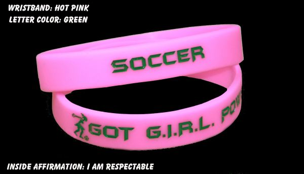 Soccer Wristband Pink with Green Lettering