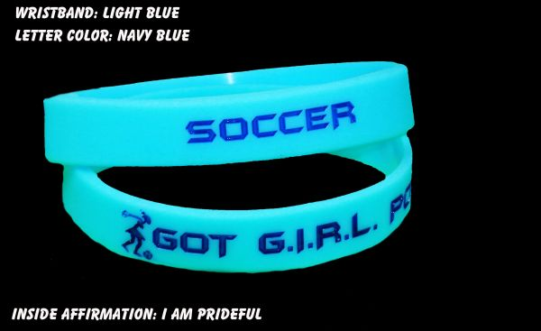 Soccer Wristband Light Blue with Dark Blue Lettering