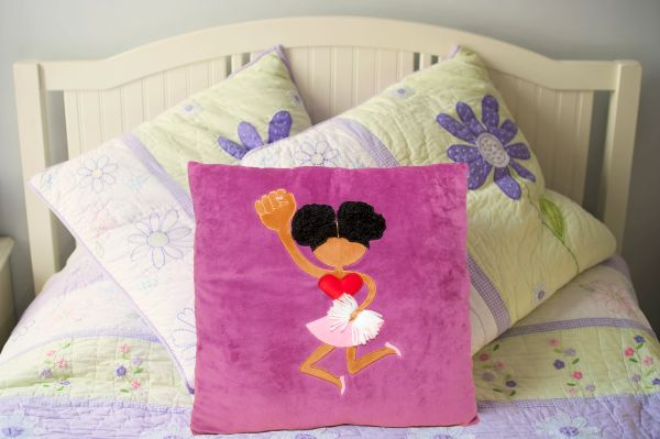 Afro Puff Cheerleader Plush Pillow