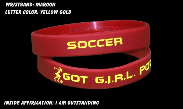 Soccer Wristband Maroon with Yellow Lettering