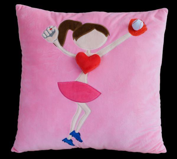 Brown Softball Plush Pillow