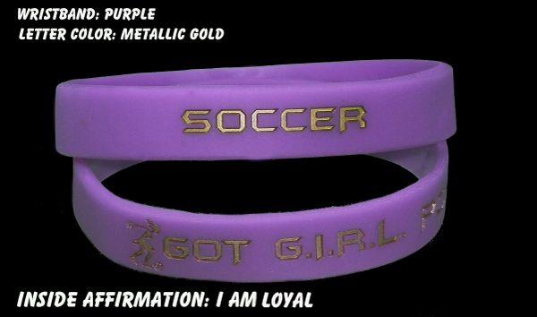 Soccer Wristband Purple with Golf Metallic Lettering
