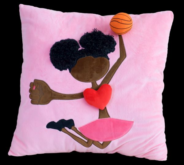 Afro Puff Basketball Plush Pillow