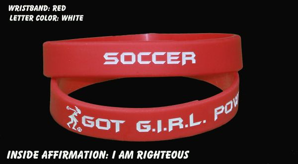 Soccer Wristband Red with White Lettering