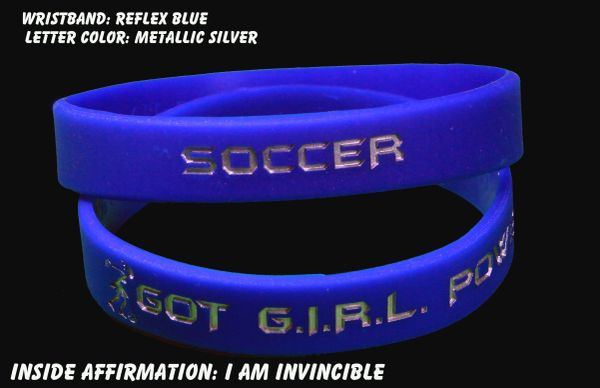 Soccer Wristband Dark Blue with Silver Lettering