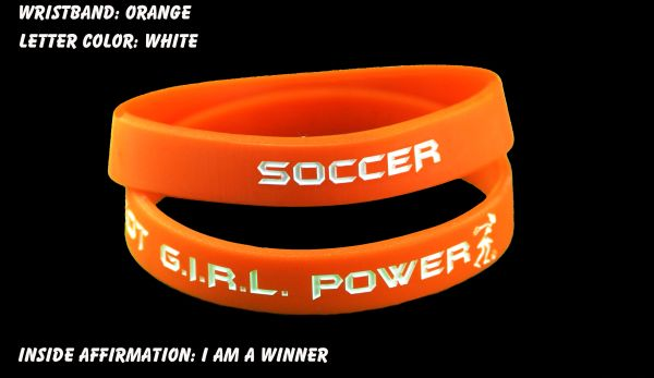 Soccer Wristband Orange with White Lettering