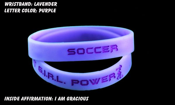 Soccer Wristband Lavender with Purple Lettering
