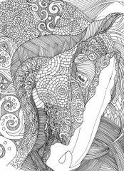 Birthday Card: Illustrative Mosaic Horse Item# GC B Color