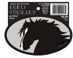 Euro Horse Oval Sticker: Horse Head with star and snip Euro Sticker - Item # ES Horse Head