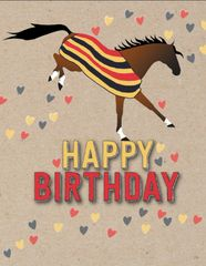 Birthday Card: Bucking Horse in Newmarket Blanket Item# GC B 4 Newmarket