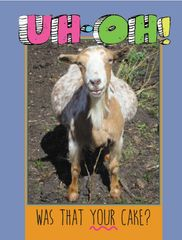 Birthday Card: Uh-Oh! Goat ate the cake! - Item # GC B Goat