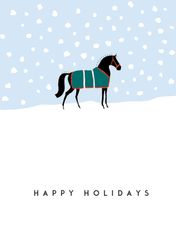 Christmas Card: Graphic Horse in Green Blanket in the Snow - Item # GC X Graph