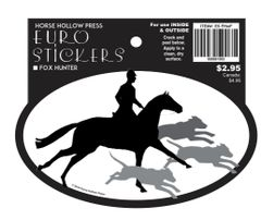 Euro Horse Oval Sticker: Fox Hunter Euro Sticker - Item # ES FHwF