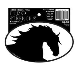 Euro Horse Oval Sticker: Black Horse Head Profile - Item # ES 2HH