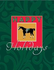 Christmas Card: Antique Horse with Green Filigree Background - Item# GC X AH 2