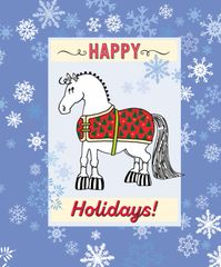 BOXED Christmas Card: Pudgy Blanketed Pony with Snowflakes - Item# BX BLKTCart