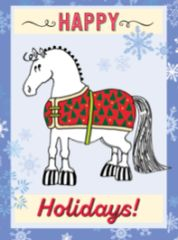 Gift Enclosure Card: Pudgy Blanketed Pony with Snowflakes 4 blank-inside cards, 4 envelopes - Item # GEC X BLKTCart