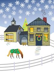 Gift Enclosure Card: New England House and Barn 4 blank-inside cards, 4 envelopes - Item # GEC X House/Barn