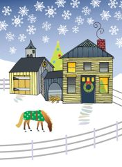 Christmas Card: New England House with Blanketed Horse - Item# GC X House/Barn