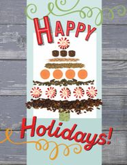 Gift Enclosure Card: Christmas Tree made out of feed 4 blank-inside cards, 4 envelopes - Item # X GEC Feed