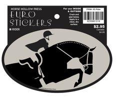 Euro Horse Oval Sticker: H/J or EQ Rider - Item # ES Rider!