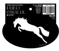 Euro Horse Oval Sticker: Jumper on Black Background- Item # ES WJB