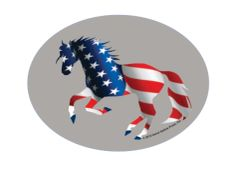 Euro Horse Oval Sticker: Full Color American Flag Horse- Item # ES Patriotic