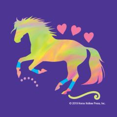 Mini Horse Stickers: Same Design 12 stickers Cantering horse with neon swirls and hearts - Item # PHS 7