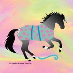 Pretty Horse Mini Stickers: Same Design 12 stickers Cantering horse with neon & polka dot blanket - Item # PHS 9