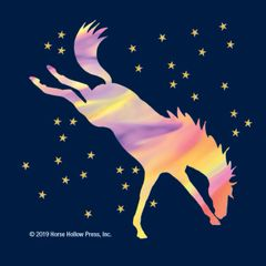 Mini Horse Stickers: Same Design 12 stickers Bucking neon horse with stars - Item # PHS 12