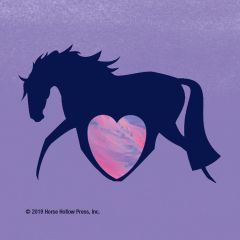 Mini Horse Stickers: Same Design 12 stickers Navy horse with neon heart - Item # PHS 15
