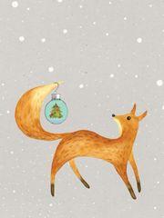 Christmas Card: Fox with a Christmas ball- Item# GC X Fox