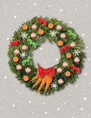 Christmas Card: Wreath with peppermints, carrots & horses- Item# GC X 180