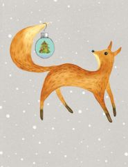 Christmas Card: Fox with a Christmas ball- Item# GC X Fox