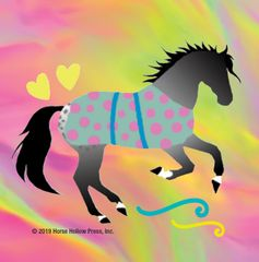 Mini Horse Stickers: Same Design 12 stickers Cantering horse with neon & polka dot blanket - Item # PHS 9