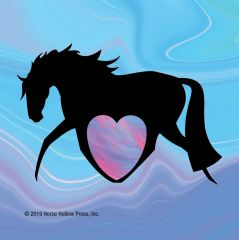 Mini Horse Stickers: Same Design 12 stickers Navy horse with neon heart - Item # PHS 15 Alt