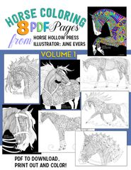 VOLUME 1: Horse Coloring PDF: 8 pages of dramatic horse artwork to color