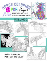 VOLUME 2: Horse Coloring PDF: 8 pages of dramatic horse artwork to color