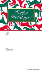 Gift Tag: Red and green horses in white background - Item # GT R&G