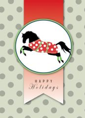 BOXED Christmas Cards: Happy Holidays. Black horse in Polka Dot Christmas Blanket - Item # BX Xmas 1